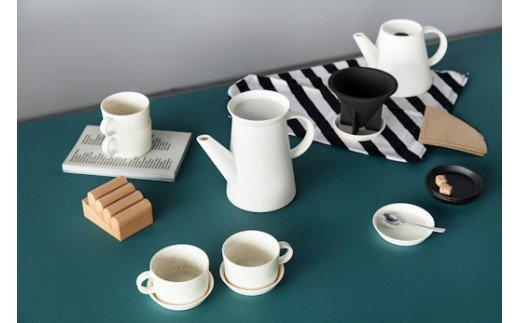 有田焼2016/Coffee Pot & DripperとCoffee Cup & Saucer2客(White Sprinkle)